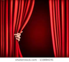 behind curtain